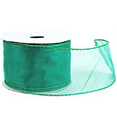 "Ribbon Organza Wired Edge - 2.5""x 10y - Emerald Green"