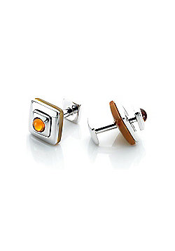 Saucer Stone Reversible Square Orange Agate Cufflinks by Babette Wasserman