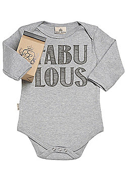 FABULOUS Organic Babygrow - Baby Bodysuit in Gift Milk Carton - Grey