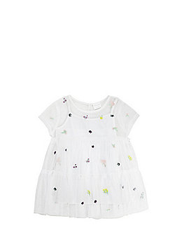 F&F Insect Embroidery Mesh Top - White