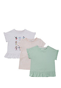 F&F 3 Pack of Frill Hem T-Shirts - Multi