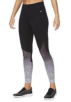 F&F Active Gradient Quick Dry Leggings - Black/White