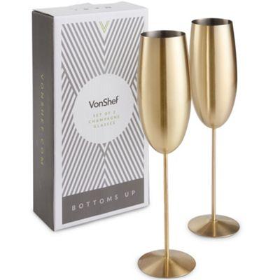 VonShef Brushed Gold Champagne Flutes
