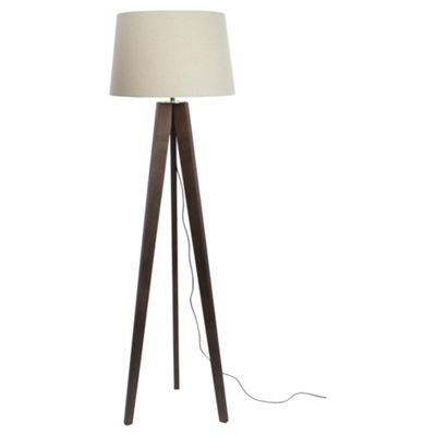Buy Tesco Tripod Floor Lamp, Walnut/Linen Shade from our Floor Lamps ...