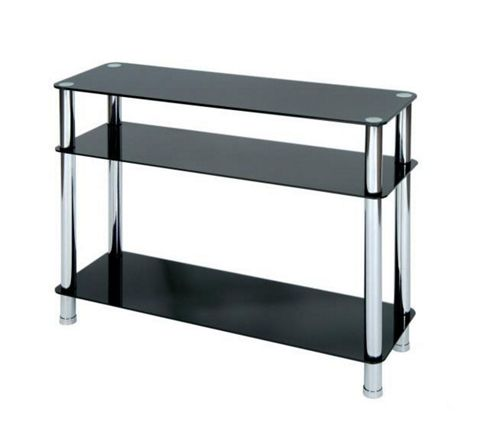 LEVV Console Table with Chrome Legs - Black