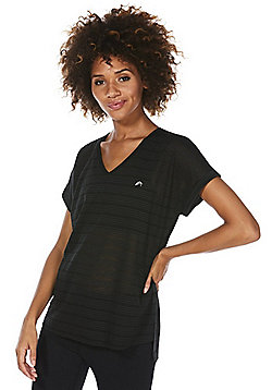 F&F Active Burnout Side Split V-Neck T-Shirt - Black