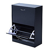 Homcom Wooden Shoe Storage Cabinet 2 Tier Drawers Footwear Stand Organiser in (Black)