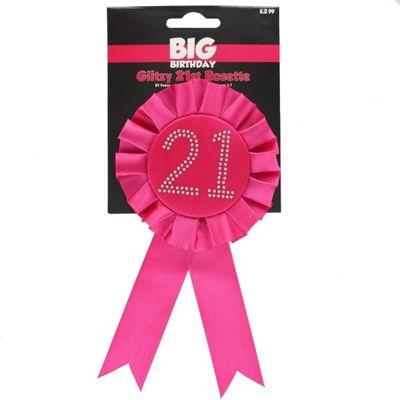 21st Pink Glitzy Birthday Rosette Badge With Diamante Stones