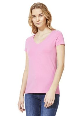 F&F V-Neck T-Shirt with As New Technology Pink 20