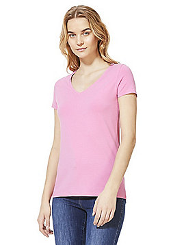 F&F V-Neck T-Shirt with As New Technology - Pink