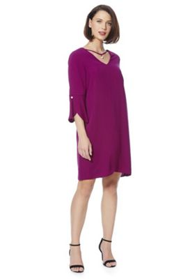 F&F Faux Pearl Detail Tulip Sleeve Dress 8 Magenta