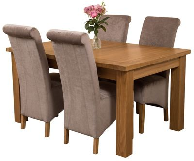 Seattle Extending Kitchen Solid Oak Dining Set Table + 4 Grey Fabric Chairs