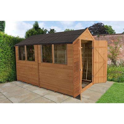 Forest Garden 10x6 Overlap Dip Treated Double Door Apex Shed Installed