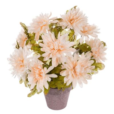 Homescapes Peach Artificial Chrysanthemum Potted Plant with Realistic Flowers