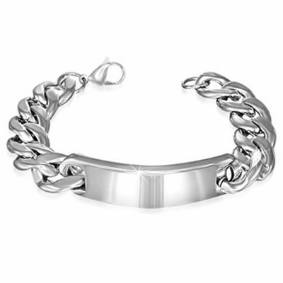 Urban Male Chunky 15mm Stainless Steel Curb Link Chain ID Bracelet