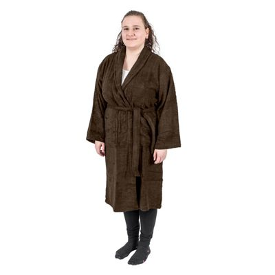Homescapes Chestnut Brown 100% Egyptian Combed Cotton Adults Bathrobe with Shawl Collar, Small/Medium