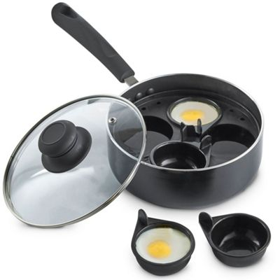 VonShef 4 Cup Egg Poacher Non-Stick Saucepan with Removable Poaching Cups