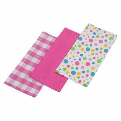Homescapes Cotton Polka Dot Multi Colour Tea Towels Set Of Three