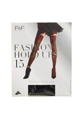 F&F 15 Denier Lace Top Fashion Hold-Ups S-M Black