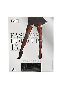 F&F 15 Denier Lace Top Fashion Hold-Ups - Black