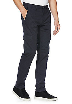F&F Stretch Slim Fit Cargo Trousers - Navy