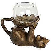 Feline - Playful Cat Tea Light Holder / Ornament - Bronze / Brown