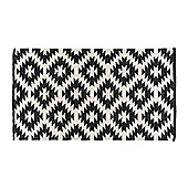 Homescapes Zurich Handwoven Black and White 100% Cotton Geometric Pattern Kilim Rug, 120 x 170 cm