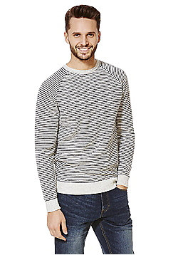 F&F Striped Jumper with Linen - Grey