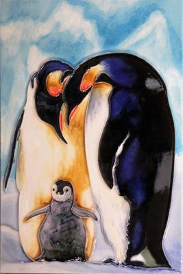 YH Arts Ceramic Wall Art, Penguin Family 8 x 12