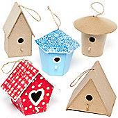 Papier Mache Mini Craft Bird Houses for Kids and Adult Crafts to Decorate and Embellish (Pack of 6)