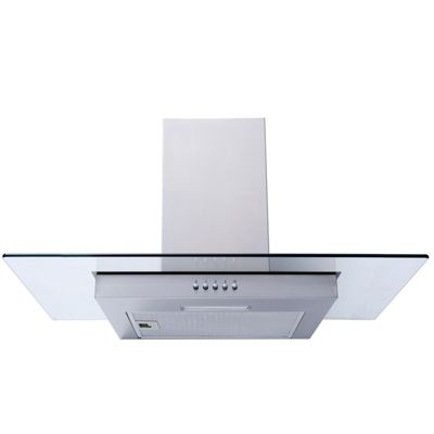 SIA FG71SS 70cm Flat Glass St/Steel Chimney Cooker Hood Extractor + 1m Ducting