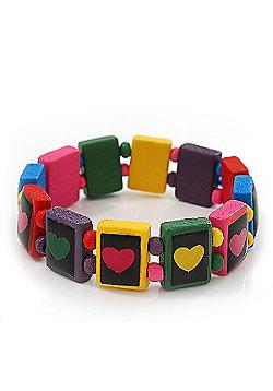 Multicoloured Wooden 'Heart' Flex Bracelet - Adjustable