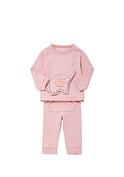 F&F Padded Elephant Applique Sweatshirt and Joggers Set - Pink