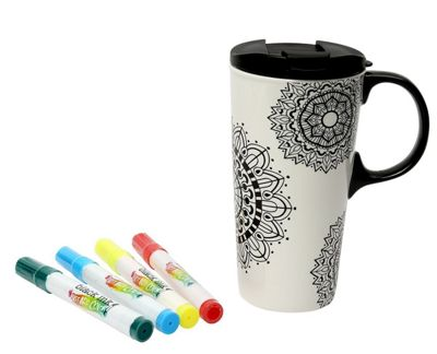 Dexam Just Add Colour Ceramic Travel Cup with Marker Pens, Mandala
