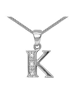 Jewelco London 9 Carat White Gold Elegant Diamond-Set Pendant on an 18 inch Pendant Chain Necklace - Inital K