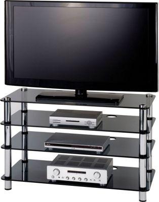 Optimum Four Shelf AV Stand with Smoked Glass