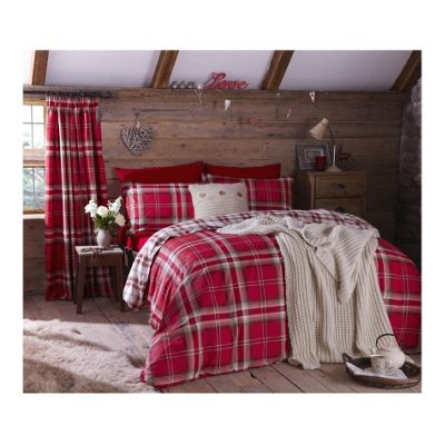 Catherine Lansfield Kelso Red Duvet Cover Set - Single