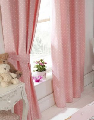 Float Away, Pink Polka Dot Curtains 54s