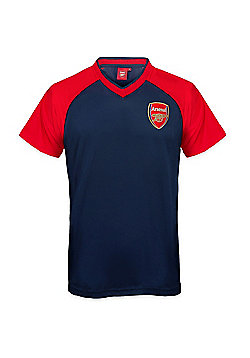 Arsenal FC Mens Poly T-Shirt - Navy & Red