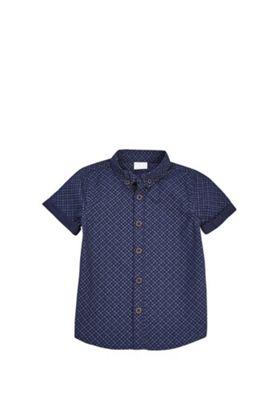 F&F Geo Print Chambray Short Sleeve Shirt Navy 12-18 months