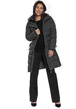 Wallis Belted Midi Puffer Coat - Grey