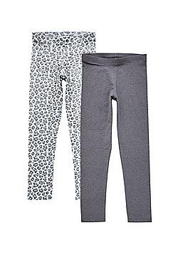 F&F 2 Pack of Leopard and Plain Leggings - Grey