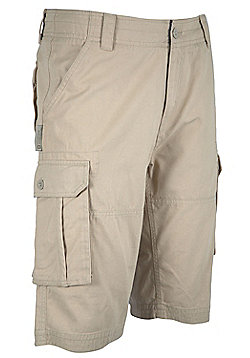 Mountain Warehouse Mens Casual Shorts 100% Cotton Twill&Feature Multiple Pockets - Khaki