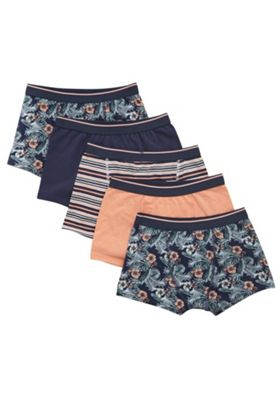F&F 5 Pack of Exotic Print, Striped and Plain Trunks with As New Technology Blue/Multi 3-4 years