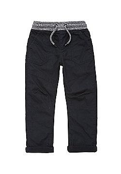 F&F Jersey Lined Rib Waist Poplin Trousers - Black