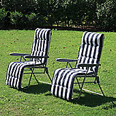 Outsunny 2 Sun Reclining Lounger With Cushion Blue and White