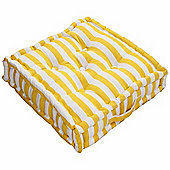 Homescapes Cotton Yellow Thick Stripe Floor Cushion, 40 x 40 cm