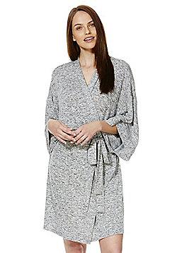 F&F Marl Kimono Dressing Gown - Grey