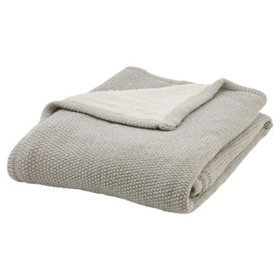buy tesco knitted sherpa throw grey from our throws blankets