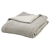 Tesco Knitted Sherpa Throw Grey